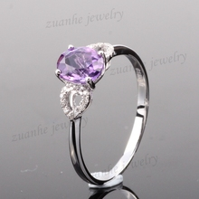 6x8mm Oval Cut Natural Amethyst Diamonds Solid 10k White Gold Ladies Wedding Ring
