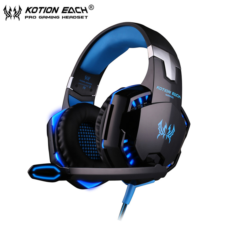 Gaming Headphone casque Kotion EACH G2000 Best Computer Stereo Deep Bass Game Earphone Headset with Mic LED Light for PC Gamer each g1100 shake e sports gaming mic led light headset headphone casque with 7 1 heavy bass surround sound for pc gamer