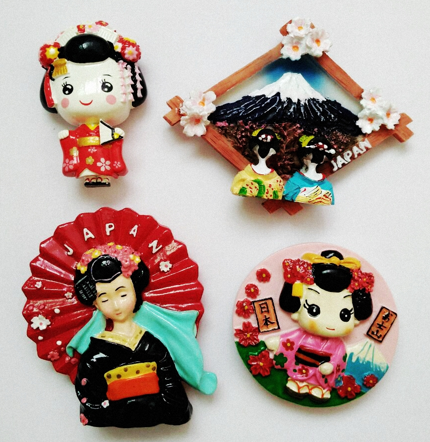 Handmade Painted Mount Fuji In Japan Stripers 3D Fridge Magnet World Souvenir Refrigerator Magnetic Stickers Home Decoration