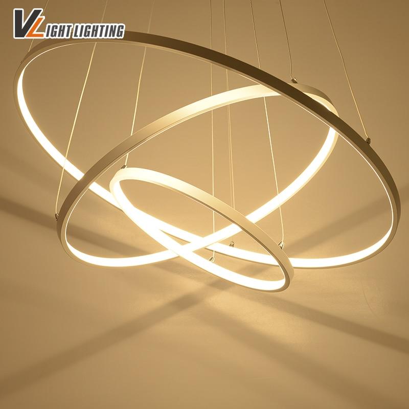 Modern Acrylic <font><b>pendant</b></font> lights 3 circle rings acrylic aluminum body led <font><b>pendant</b></font> lamp for home decoration lighting fixtures