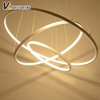 Modern Acrylic Pendant Lights 3 Circle Rings Acrylic Aluminum Body Led Pendant Lamp For Home Decoration