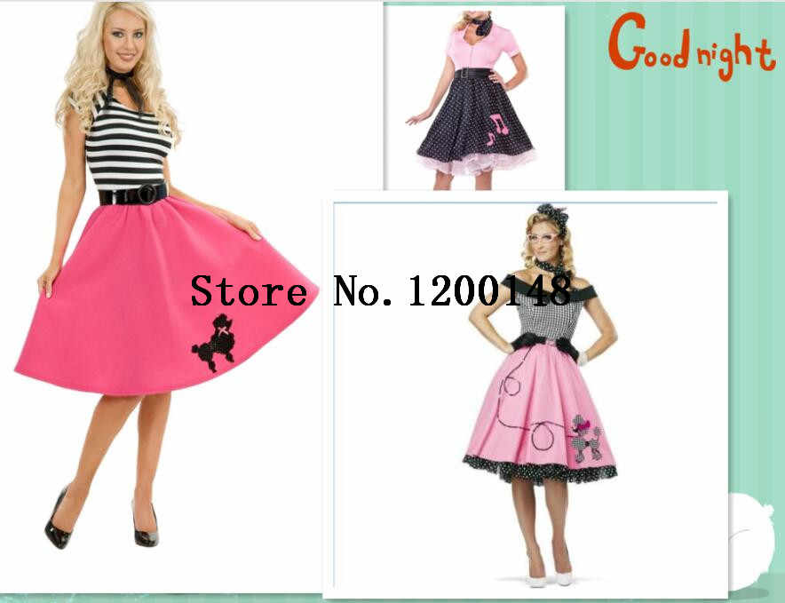 Womens 50's Style Cute Poodle Skirt Grease Halloween Dance Costume Womens Plus Size 6XL 1950s 50s Grease Sweetheart Poodle Dress