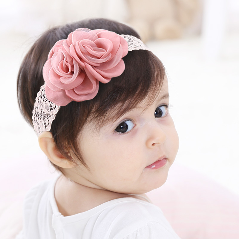 1pc Baby Girls Pink Hair Flower Headbands Newborn Infant Flower Lace Hairband Chiffon Flower Headband For Girls Hair Accessories