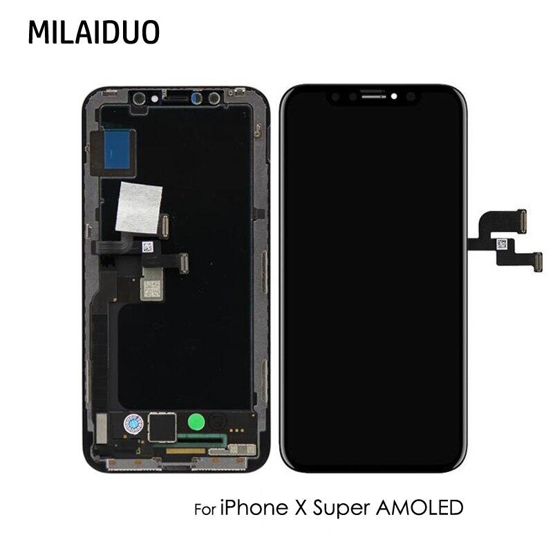 OEM Premium Qualité Super AMOLED Écran OLED Pour iPhone X 10 LCD Affichage Tactile Digitizer Assemblée de Remplacement avec Cadeau Gratuit