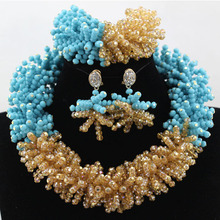 Charming Teal Turquoise Blue Wedding Statement Necklace Earrings Set Gold Dubai Women Jewelry Set Bridal Free shipping WD128