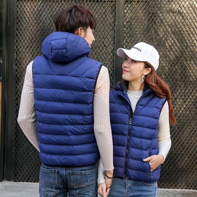 Fall vest men's fashion removable hat, couples, sleeveless jacket, casual cotton cushion coat, men's winter vest plus size.