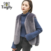 Tingfly New Winter Women Thick Warm Faux Fur Vest High Quality Fashion Short Fur Coat For Women Outwear Comfortable 4 Colors