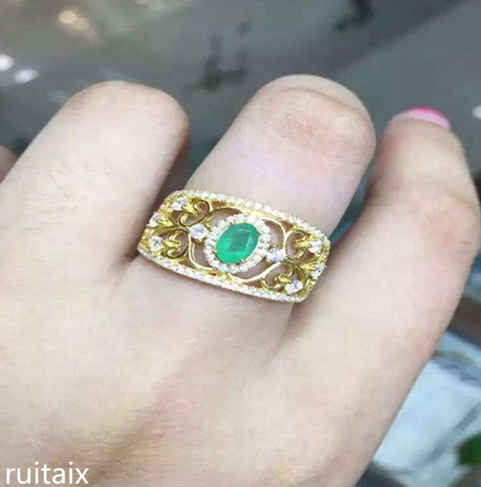 KJJEAXCMY fine jewelry 925 Pure silver inlay natural emeralds female gold - plated ring simple one piece simple gold plated fashion alloy rhinestone ring for men