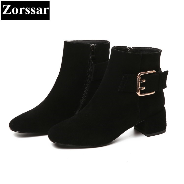 {Zorssar} 2017 NEW fashion buckle Womens boots comfort thick heels suede ankle Boots Autumn winter women shoes large size 33-43 new bottes femmes 2015 calzado mujer autumn winter knee high boots suede womens chunky thick heels sexy fashion winter boots