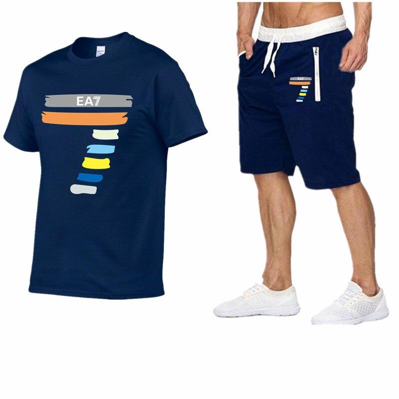 New Fashion Sportsuit And Tee Shirt Set Mens T Shirt Shorts+Short Pants Men Summer Tracksuit Men Brand Casual Tee Shirt Shorts