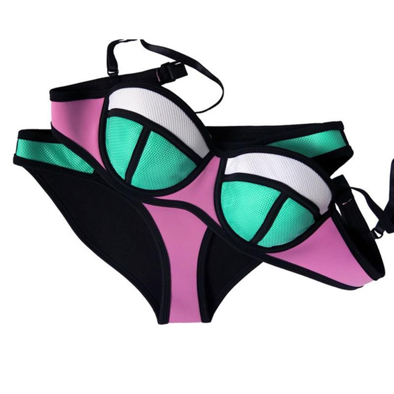 sexy neoprene bikinis women swimwear 2017 brazilian push up bikini set maillot de bain femme. Black Bedroom Furniture Sets. Home Design Ideas