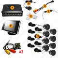 "Car 8 Sensors/4-LED CCD Camera/3.5"" Monitor Front&Rear Dual View Parking Sensor Rear View System #FD-4449"