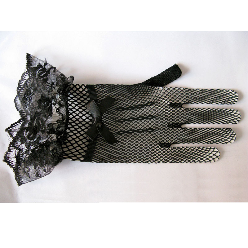 Wholesale Bride Cheap Wedding Accessories High Elastic Knitted Veil Black And White Lace Gloves Party Women Gloves About 25cm BH
