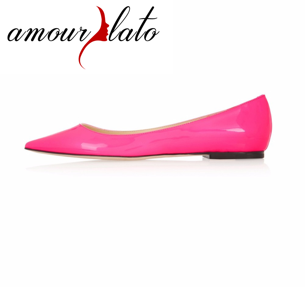 Amourplato femmes bout pointu appartements Simple fête soirée Ballets chaussures femme grande taille sans lacet ballerines mocassins rose