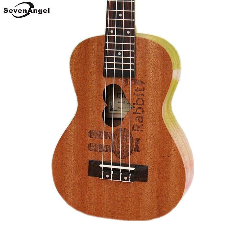 SevenAngel Four Strings 23 inch Ukulele 17 Fret Hawaiian Guitar Ukelele Chibson Acoustic guitar Heart rabbit pattern uku