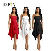 IIXPIN Women Asymmetrical Dance Dress Chiffon Ballet Modern Ballroom Contemporary Lyrical Dance Costumes Ballerina Ballet Dress