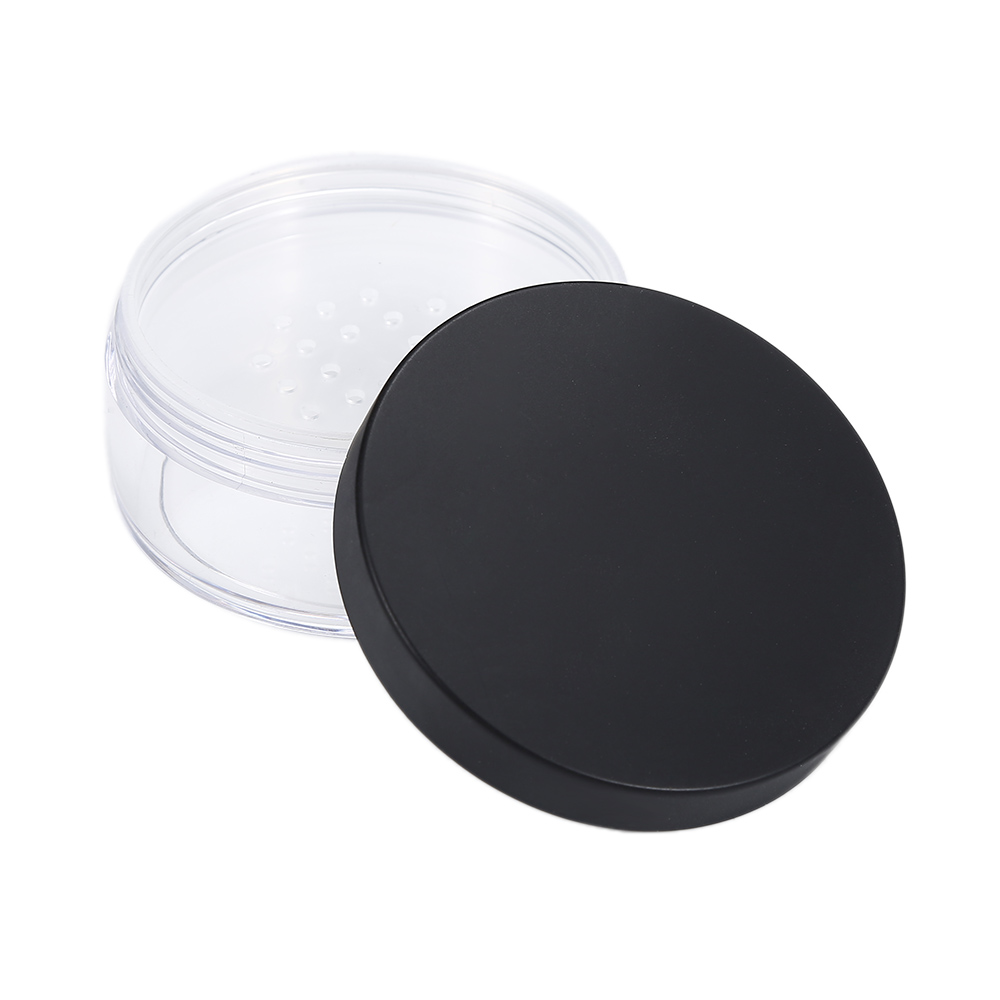 50ml Plastic Clear Reusablet Empty Loose Powder Container Cosmetic Jar Travel Pot with Black Cap Handheld 10 50pcs 18 24r white black clear plastic powder press pump head nozzle for cosmetic lotion emulsion bottle with clear full cap