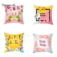 Fawatacchi Plush Square Rabbit Happy Easter Decorations For Sofa Car Pillows Bunny Eggs Pillow Cases Cushion Cover Home