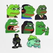 8Pcs Lot Pepe Sad Frog Funny Sticker For Car Laptop Luggage Skateboard Motorcycle Snowboard Phone Decal