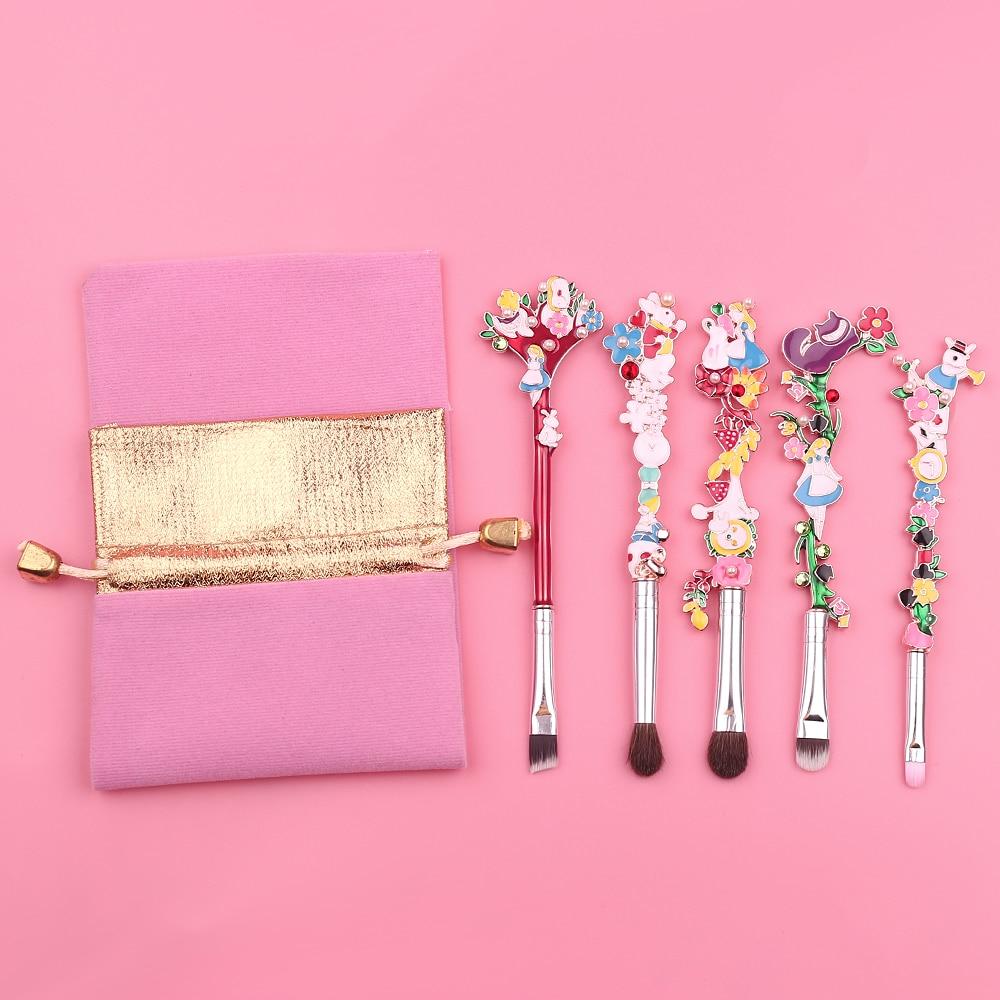 Luxury 5PCS/SET Makeup Brushes Set Alice in the Wonderland Forest Garden Plant Cosmetic Pro Foundation Makeup Brushes Tool Kit