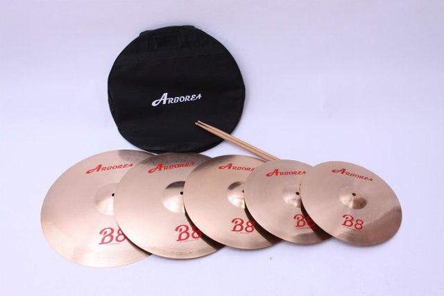 "Arborea B8 series 4 Cymbals set: 14"" hihat+16""crash+18""crash ride+20""ride+8""splash+cymbal bag 2"