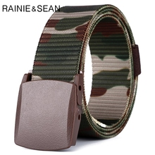RAINIE SEAN Male Military Belt Men Tactical Nylon Waist Army Green Smooth Buckle Training Mens Belts Strap 125cm