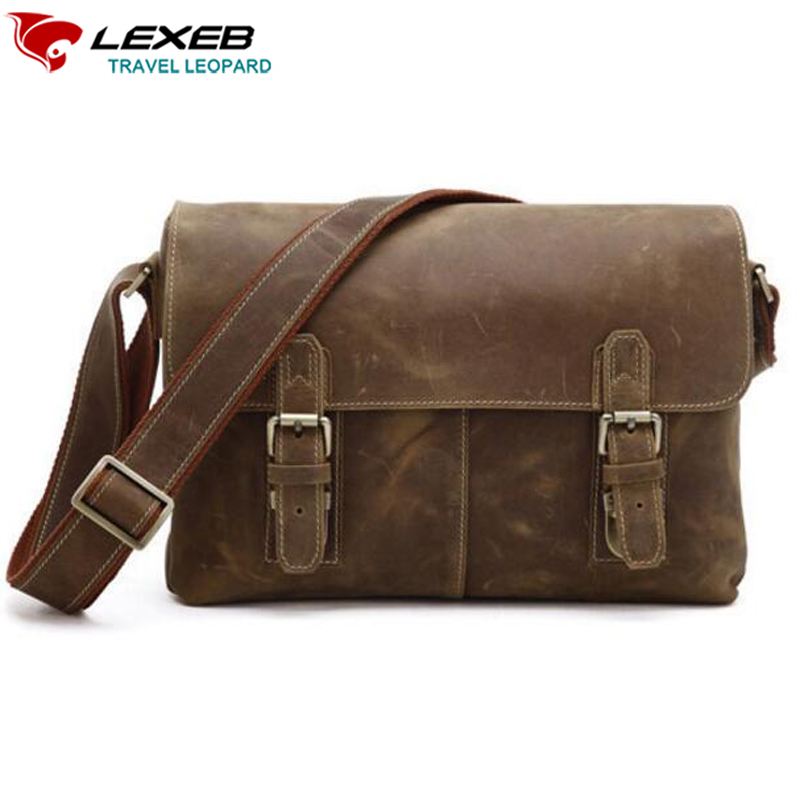 LEXEB Brand Men's Vintage Everyday Bag Causal Crazy Horse Leather Messenger Post Satchels Bags Fashion High Quality Brown lexeb brand lawyer briefcase vintage crazy horse leather men laptop bag 15 inches high quality office bags 42cm length brown