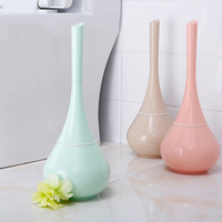 1 Pcs Creative Blue Plastic Toilet Brush Round Home Bathroom Scrub Cleaning Brushes Holder Set Household