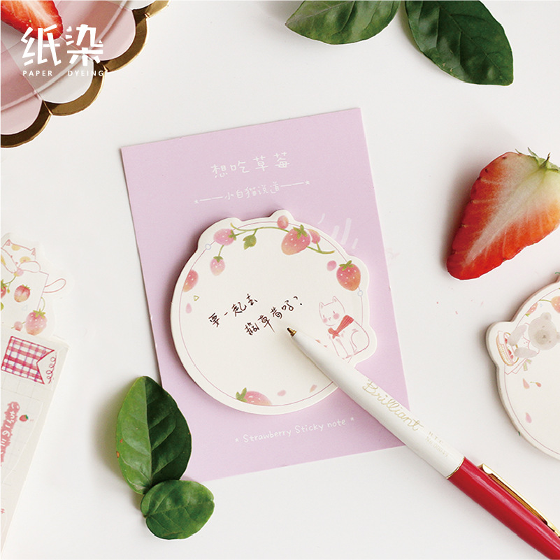 30 Sheets/pad Strawberry Theme Memo Pad N Times Sticky Notes Escolar Papelaria Supply Bookmark Label