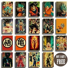 Póster de Dragon Ball de Anime japonés, Papel Kraft impreso, pósteres Retro Vintage de buena calidad, arte de pared, pegatinas de pared