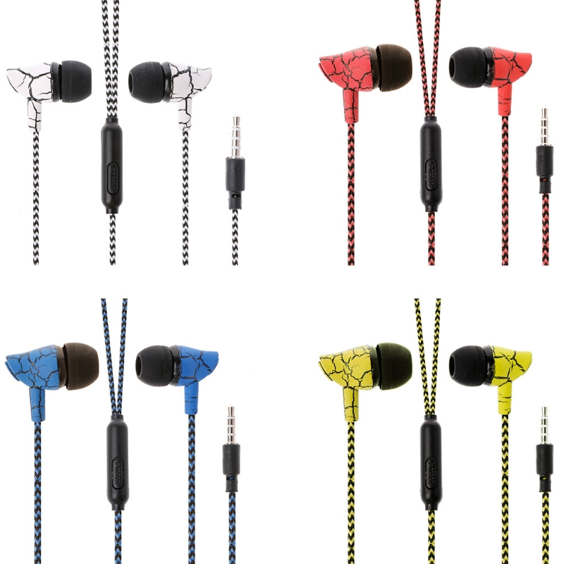 OOTDTY Crack Pattern Nylon Braided Wire 3.5mm In-Ear Earphone Headset With Mic For Mobile Phone ratchet clank a crack in time