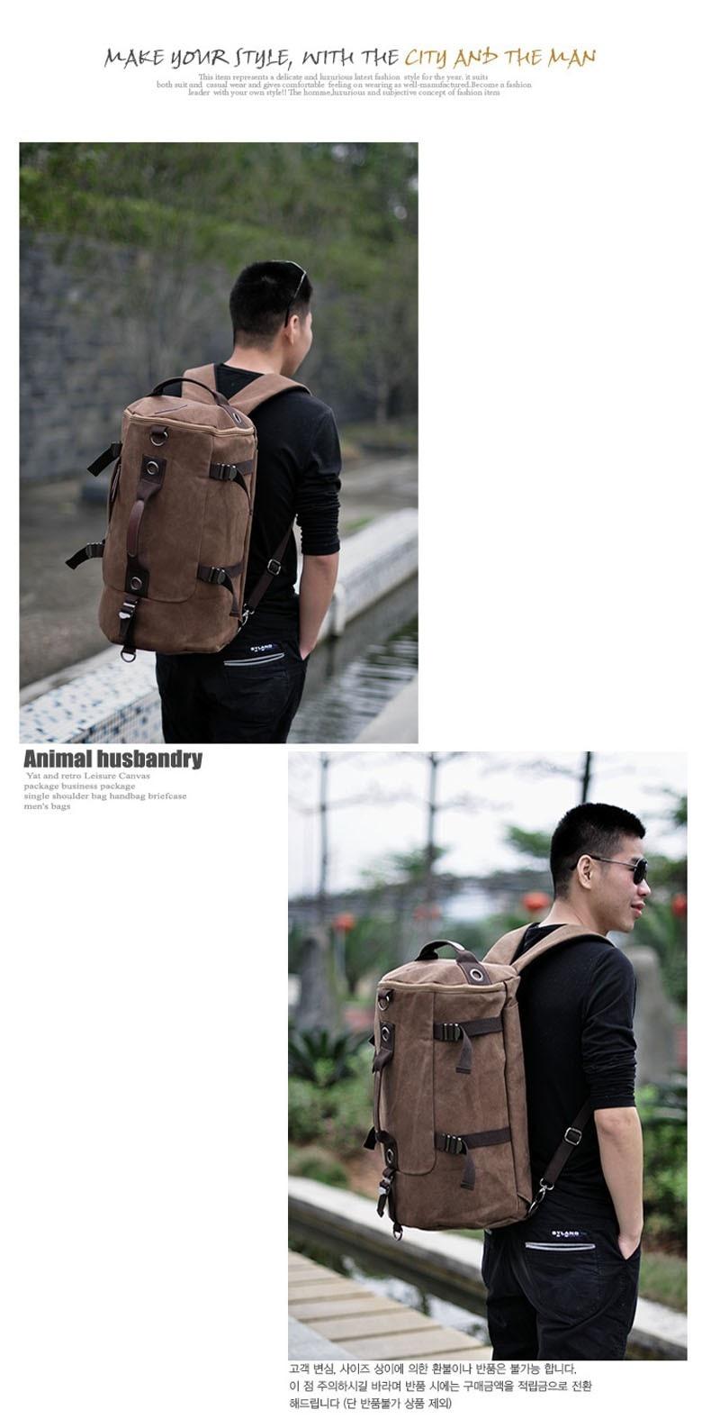 Men's Multi-Functional Backpack Vintage Shoulder Bag High Quality Canvas Male Bagpack Rucksack Travel Luggage for Weekend 35