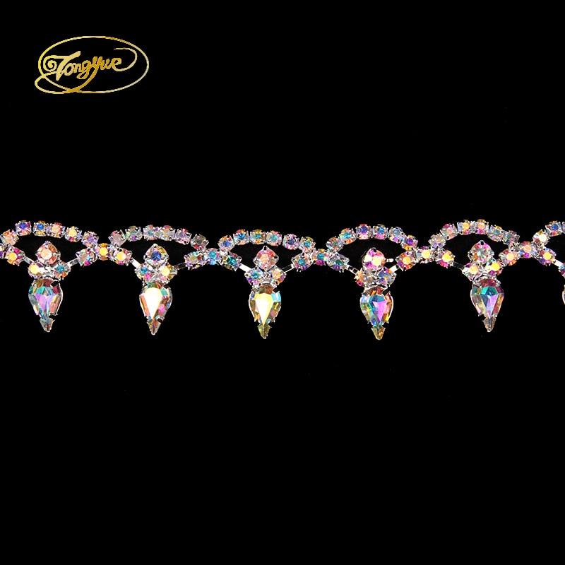 1 YD sewing decoration rhinestone Zircon Alloy Gold and silver AB rhinestone DIY Crafts wedding shoes bag rhinestone accessories