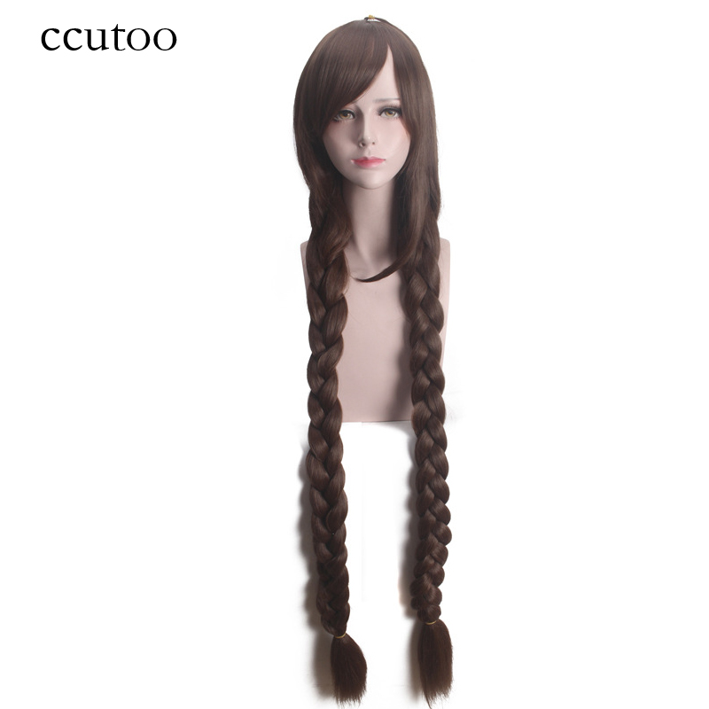 Ccutoo 120cm Brown Long Straight Braid Styled Synthetic Hair Heat Resistance Cosplay Full Wigs