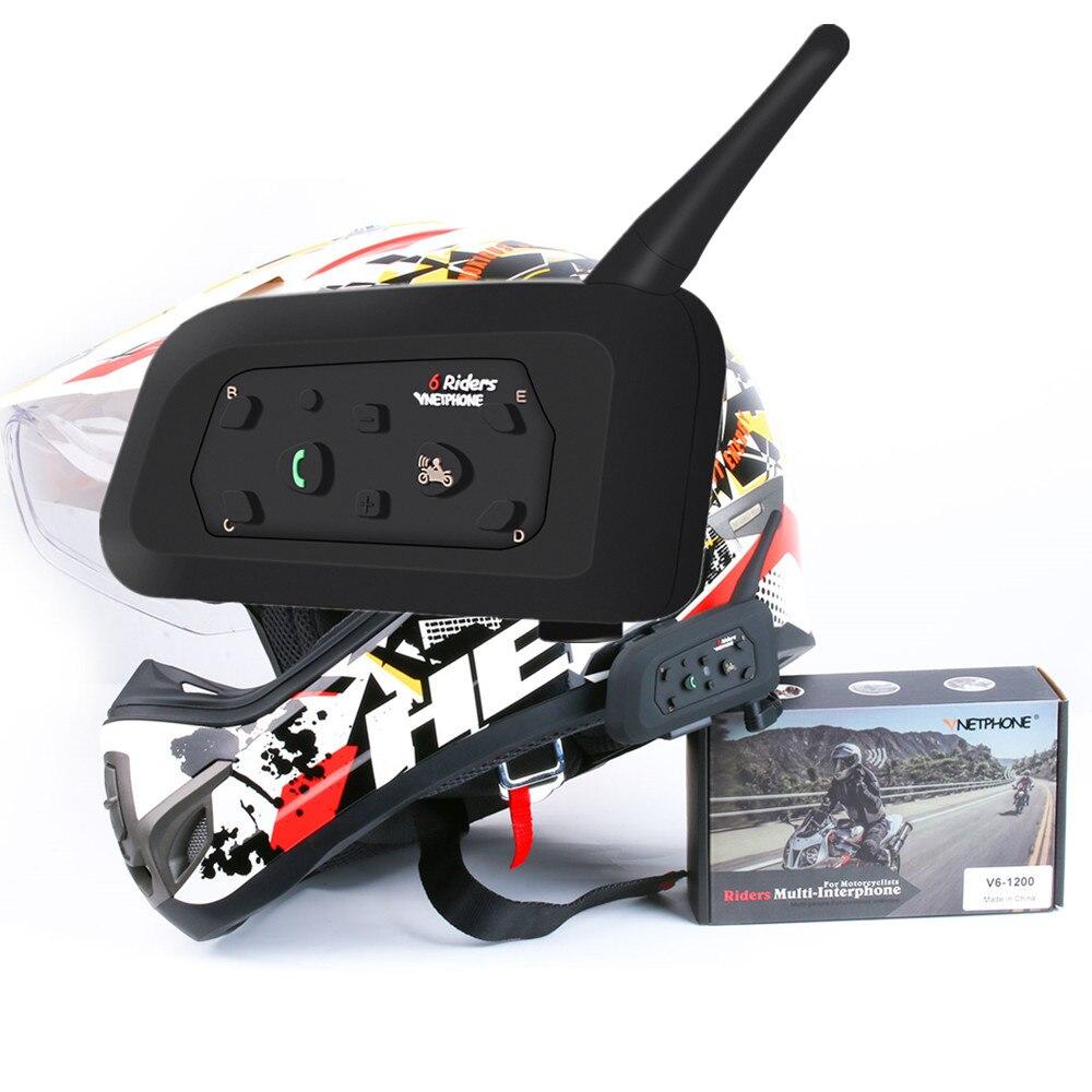 V6 Wireless Synchronous Helmet Headset Motorcycle Intercom for 6 riders Multi Intercomunicador 1200m Bluetooth Helmet Intercom
