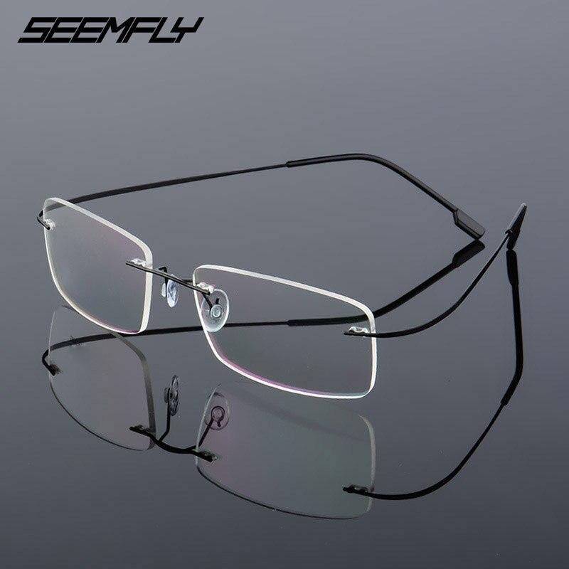 SEEMFLY Frameless Anti Blue Light Glasses Frame Women Men Rimless Metal Temple Eyeglasses Female Male Ultralight Eyewear