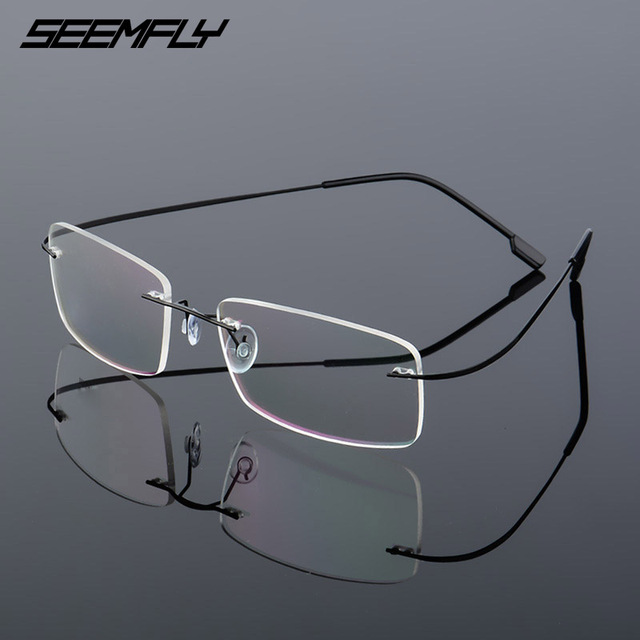 SEEMFLY Frameless Anti Blue Light Glasses Frame Women Men Rimless Metal Temple Eyeglasses Female Male Ultralight Eyewear
