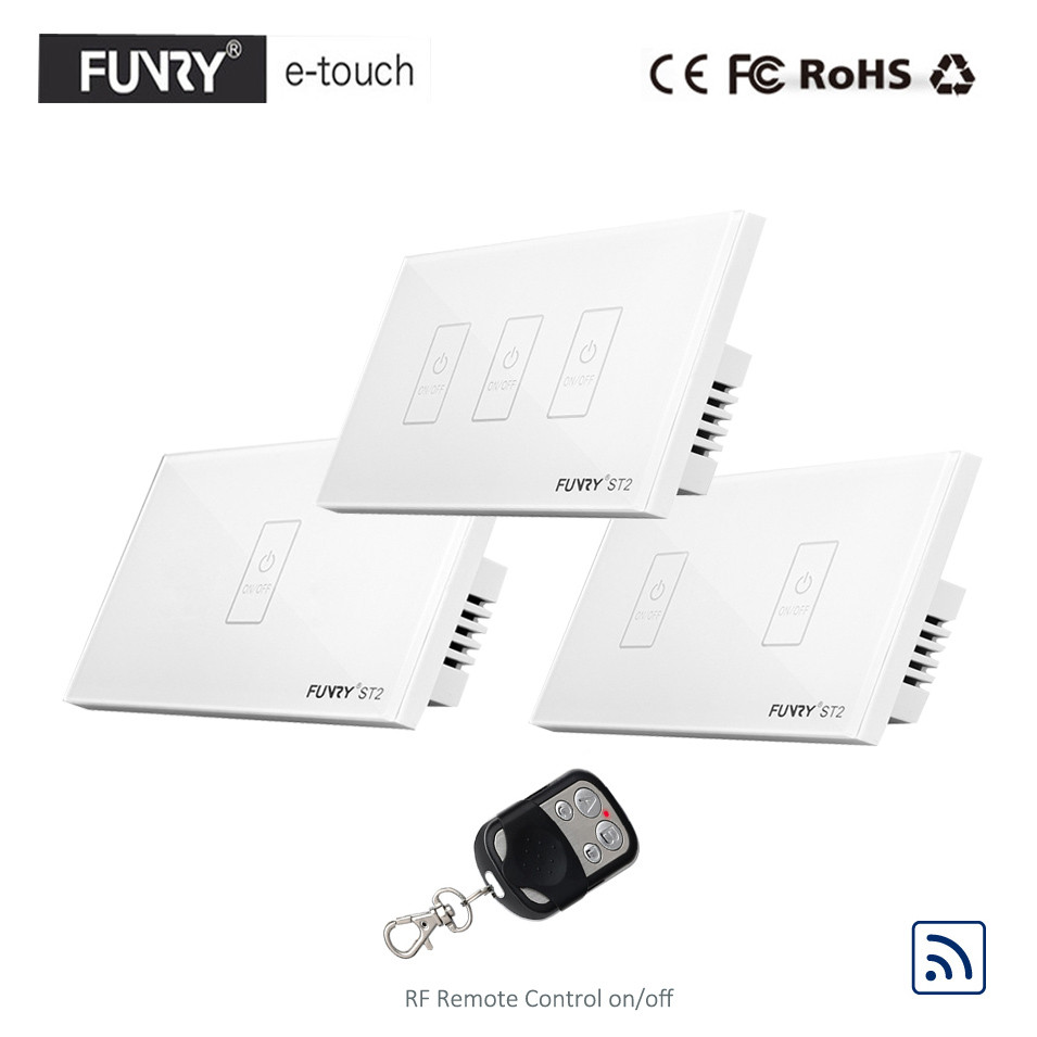 FUNRY US Type 1 2 3 Gang 1 Way RF433 Remote Smart Switch,Crystal Glass Panel Touch Switch, Wireless Remote Control Light Switch funry st1 us 3gang light smart switch crystal glass panel wireless touch remote control 110 240v surface waterproof interruptor