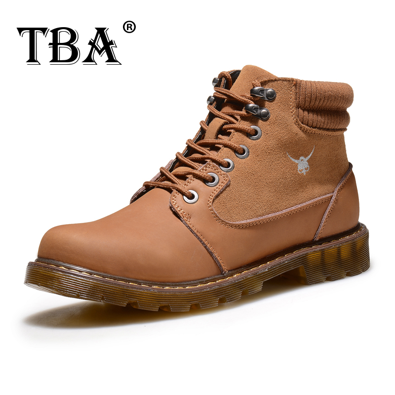 ФОТО 2017 TBA 8078# Men's  British Trend Warm Casual Boots Brown Cow Split with Flock Upper  Muscle Outosle Male Walking Shoes