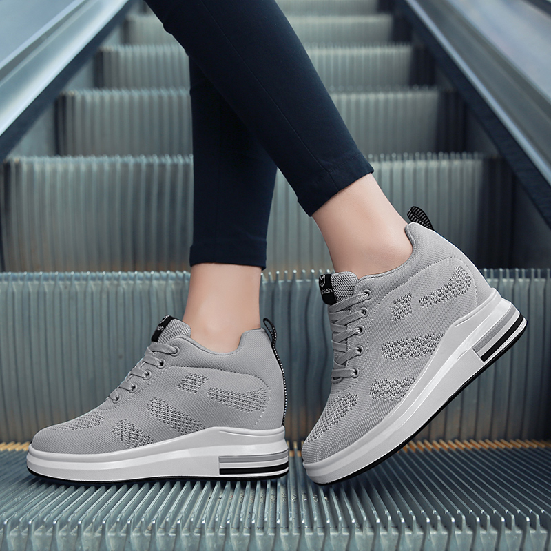 Hide Heel Women Fashion Sneakers Flying Knitting Wedge Casual Shoes Woman Air Mesh Breathable Autumn High Top Ladies Shoes SH3 (16)