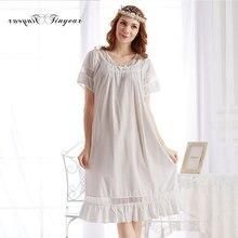 2016 High quality women nightgown short sleeve round collar night dress cotton fashion women's long sleep & lounge wear 4 colors