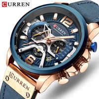 Curren Роскошные, брендовые Мужские Аналоговые кожаные спортивные часы мужские армейские часы Мужские кварцевые наручные часы Masculino 2019