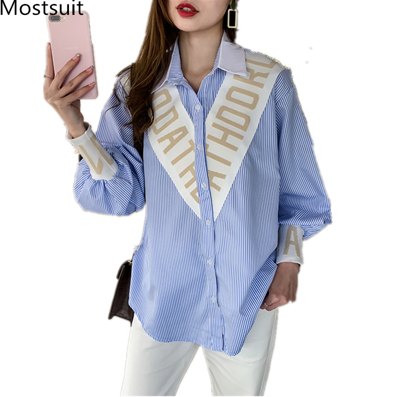 Blue Striped Casual   Blouses     Shirts   Women Plus Size Spring Autumn Patchwork Loose Tops Long Sleeve Turn-down Collar Blusas Mujer