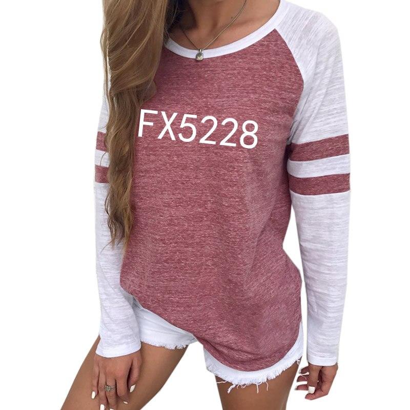 Fx5228 Nova Moda T-Shirt Camiseta Top Plus Size Raglan Tumblr Verão T-shirt de Manga Curta para As Mulheres