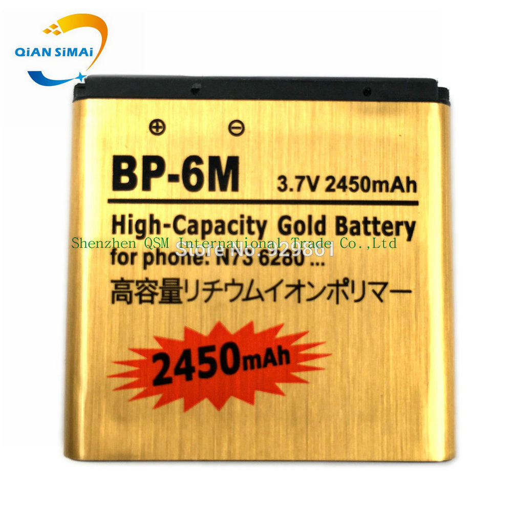 QiAN SiMAi 1PCS <font><b>BP</b></font>&#8211;<font><b>6M</b></font> 2450mAh Original High quality Gold <font><b>battery</b></font> For <font><b>Nokia</b></font> N93 N73 9300 6233 6280 6282 3250 <font><b>BP</b></font> <font><b>6M</b></font>