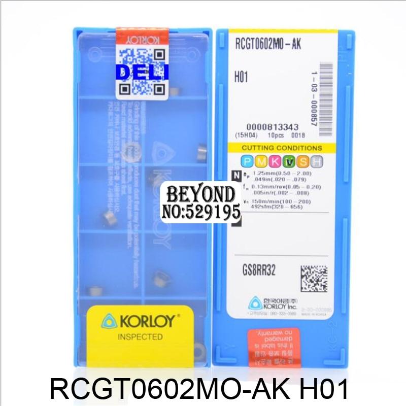 Original Korloy Insert RCGT0602MO-AK RCGT0602M0-AK H01 Carbide Inserts For Aluminum RCGT0602 RCGT 0602 Lathe Cutter Tools CNC