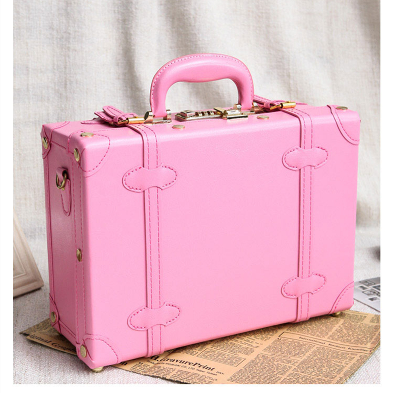 Female retro pu leather trolley luggage suitcase korea fashion style luggage travel bag small fresh vintage box password box 12 inch pu leather small suitcase floral decorative box with straps for women