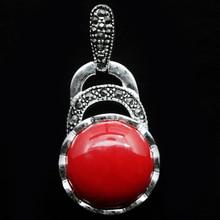 Винтажные 925 пробы серебро красное Коралловое ожерелье марказит кулон 40X20 мм A0510 цепи свадебные украшения mo