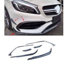 UNA Classe In Fibra di Carbonio Paraurti Anteriore Canard Splitter Spoiler Fendinebbia Trim per Mercedes Benz A180 A200 A250 AMG A45 13-18 ABS