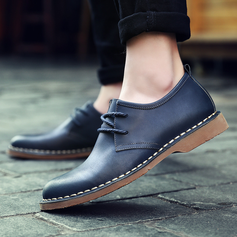 ФОТО Hot Sale Men Shoes Genuine Leather Fashion Casual Flats Shoes 2 Style Men Flat Shoes Brand Leather Shoes Loafers Plus Size 38-44